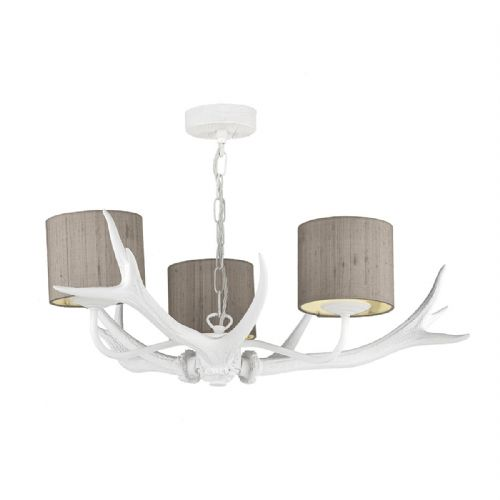 Antler Lamp 3 Light Pendant White + Silk Shades (Specify Colour) ANT0397 (7-10 day Delivery)